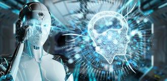 Mulher branca do humanoid que usa o ícone digital da inteligência artificial ilustração royalty free