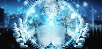 Mulher branca do humanoid que usa o holograma da rede do globo com Europa miliampère Fotos de Stock Royalty Free