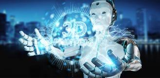 Mulher branca do robô que usa 3D que imprime o renderin digital do holograma 3D ilustração royalty free