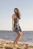Mulher brincalhão no vestido Foto de Stock Royalty Free