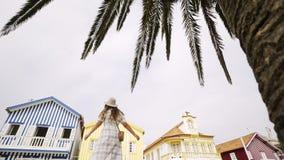 Mulher brincalhão que anda sob a palmeira vídeos de arquivo