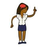mulher cômica dos desenhos animados com ideia inteligente ilustração stock