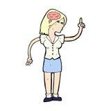 mulher cômica dos desenhos animados com ideia inteligente ilustração do vetor