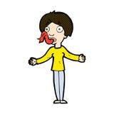 mulher cômica dos desenhos animados que diz mentiras Imagem de Stock