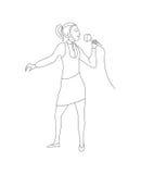A mulher canta no vetor do microfone Foto de Stock Royalty Free