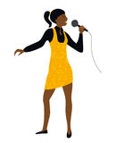 A mulher canta no vetor do microfone Imagem de Stock