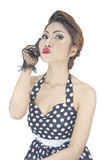 Mulher caucasiano à moda nova que levanta a denominação retro Foto de Stock