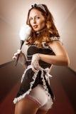 Empregada doméstica francesa 'sexy' que guardara o espanador Fotos de Stock Royalty Free
