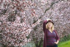 Mulher caucasiano com a árvore de florescência próxima do cabelo louro longo e do chapéu roxo do fedora, uma mão que mantém o cha Foto de Stock