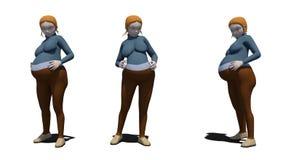Mulher caucasiano de Toon grávida ilustração stock