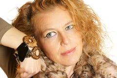 Mulher caucasiano loura com olhos azuis Fotografia de Stock