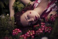 Mulher caucasiano moreno no vestido branco no parque em flores vermelhas e amarelas em um por do sol do verão que guarda as flore Imagem de Stock Royalty Free