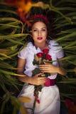 Mulher caucasiano moreno no vestido no parque nas flores em um por do sol do verão que guarda as flores que colocam na grama Imagens de Stock