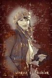 Mulher caucasiano na moda, texto na foto Foto de Stock Royalty Free