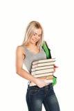 Mulher caucasiano nova do estudante com livros foto de stock