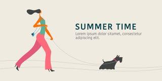 Mulher caucasiano nova que anda com a ilustração do vetor do cão ilustração do vetor