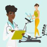 Mulher caucasiano que exercita no instrutor elíptico ilustração stock
