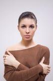 Brunette na camisola fotografia de stock