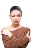 Brunette na camisola imagem de stock royalty free