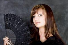 Mulher Charming com ventilador italiano Fotos de Stock Royalty Free