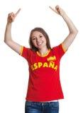Mulher Cheering da Espanha imagens de stock royalty free
