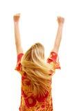 Mulher Cheering de atrás Imagens de Stock Royalty Free