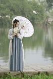 Mulher chinesa asiática na beleza tradicional de Œclassic do ¼ do dressï de Hanfu em Chin Foto de Stock