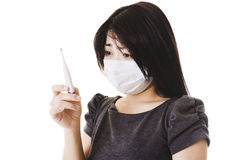 Mulher chinesa doente. imagens de stock royalty free