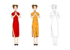 Mulher chinesa no vestido vermelho tradicional de Qipao Povos do ano novo que cumprimentam Ilustração do vetor Imagens de Stock