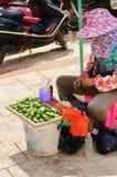 Mulher chinesa que vende nozes de bétele Fotografia de Stock