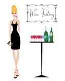 Mulher chique em uma degustação de vinhos ilustração do vetor