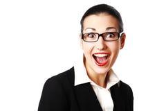 Mulher choc com vidros Imagens de Stock