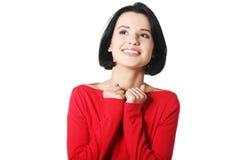 Mulher chocada e entusiasmado que olha acima Imagens de Stock Royalty Free