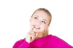 Mulher chocada e entusiasmado que olha acima foto de stock royalty free