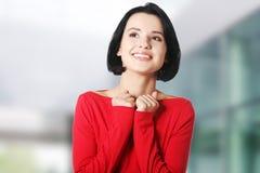 Mulher chocada e excited que olha acima Fotos de Stock Royalty Free