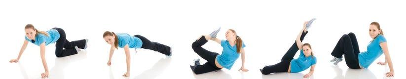 A mulher cinco nova que faz o exercício isolado Foto de Stock Royalty Free