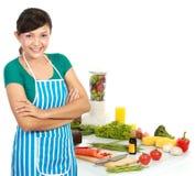 Mulher com alimento saudável fotografia de stock