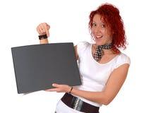 Mulher com almofada preta Imagem de Stock Royalty Free