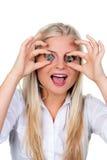 Mulher com as euro- moedas antes dos olhos Foto de Stock Royalty Free