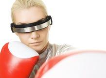 Mulher com as luvas de encaixotamento do vermelho Imagem de Stock Royalty Free