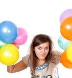 Mulher com balões. Fotografia de Stock Royalty Free