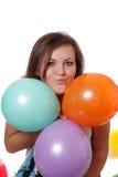 Mulher com balões. fotos de stock