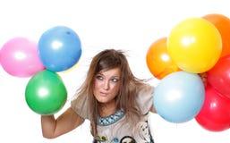 Mulher com balões. imagem de stock