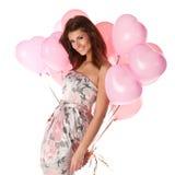 Mulher com balões fotografia de stock royalty free