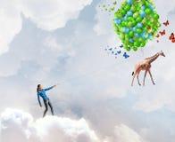 Mulher com balões Foto de Stock