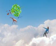 Mulher com balões Imagens de Stock