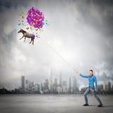 Mulher com balões Imagem de Stock Royalty Free