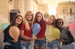 Mulher com balões imagem de stock