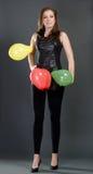 Mulher com balões coloridos Fotos de Stock Royalty Free