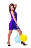 Mulher com ballons Fotos de Stock